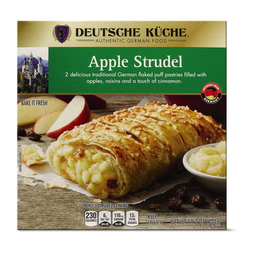 box of aldi apple strudel