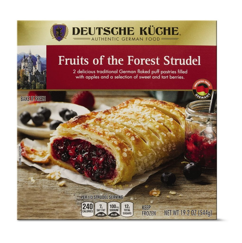 box of aldi fruit of the forest strudel