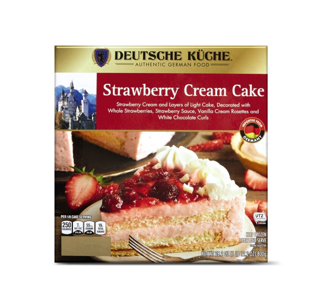 aldi strawberry cream cake for german week