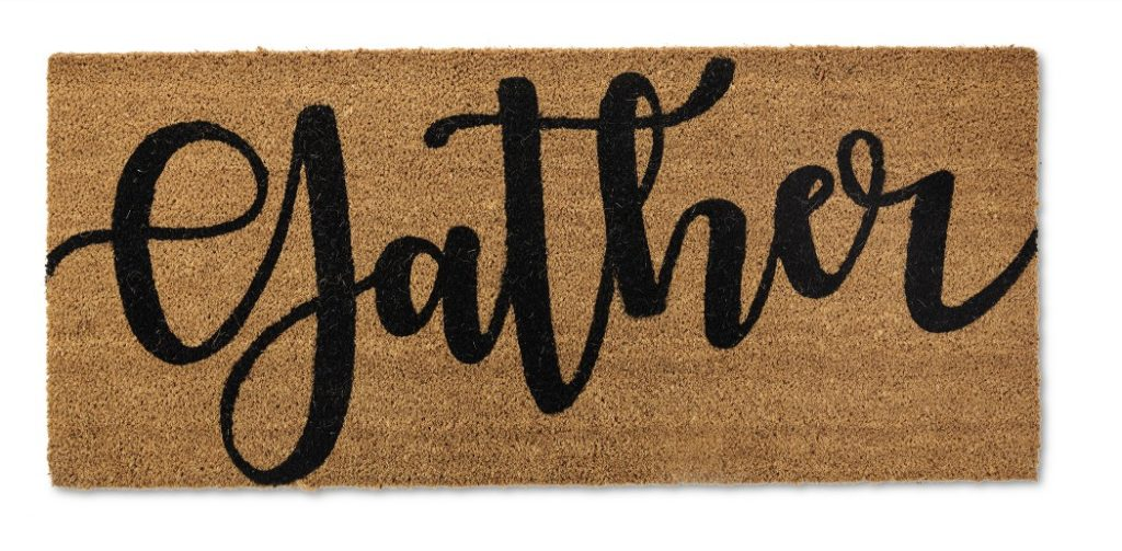 doormat with the word gather