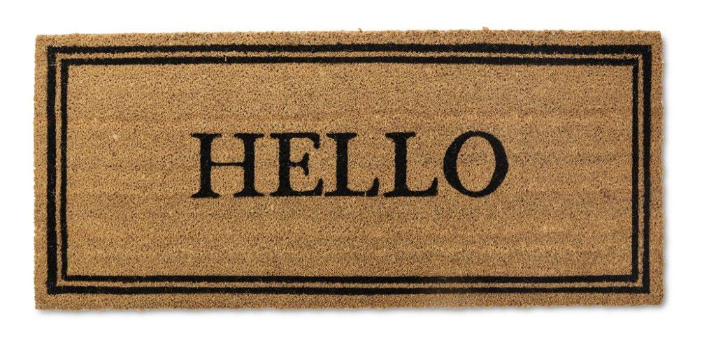 doormat with the word hello