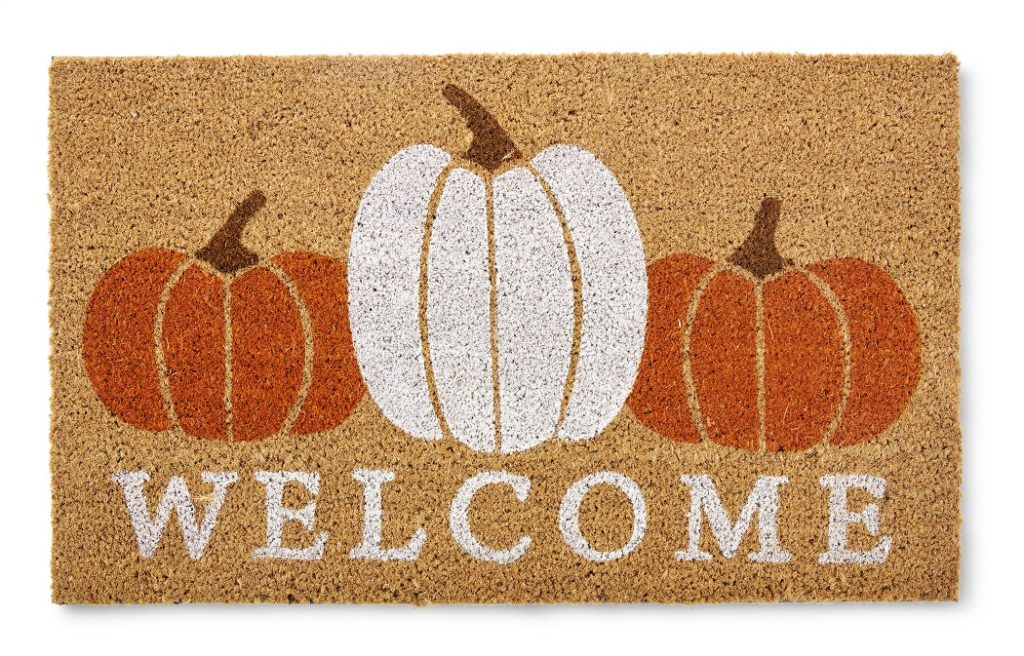 welcome mat with 3 pumpkins on it