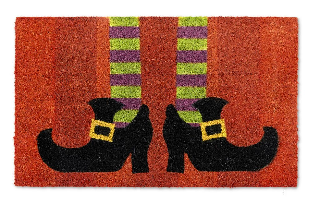 front doormat with witch's feet