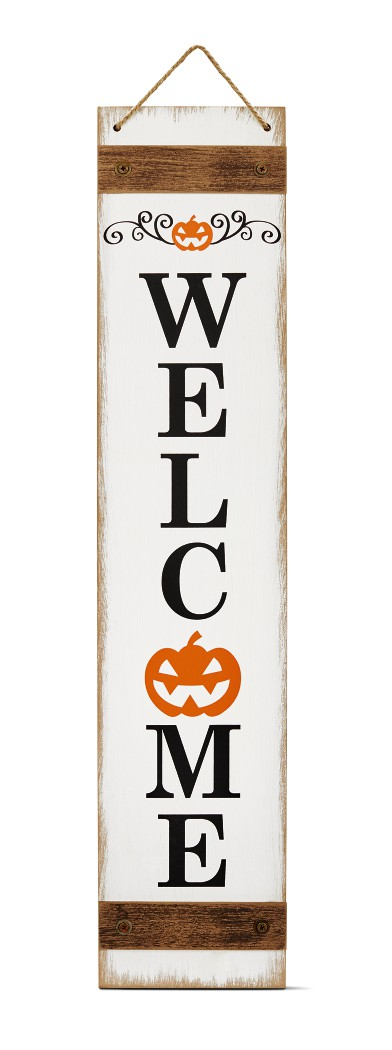 front porch sign displaying welcome with a jack-o-lantern