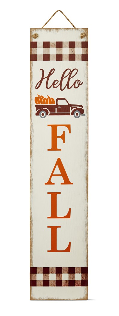 front porch sign displaying hello fall