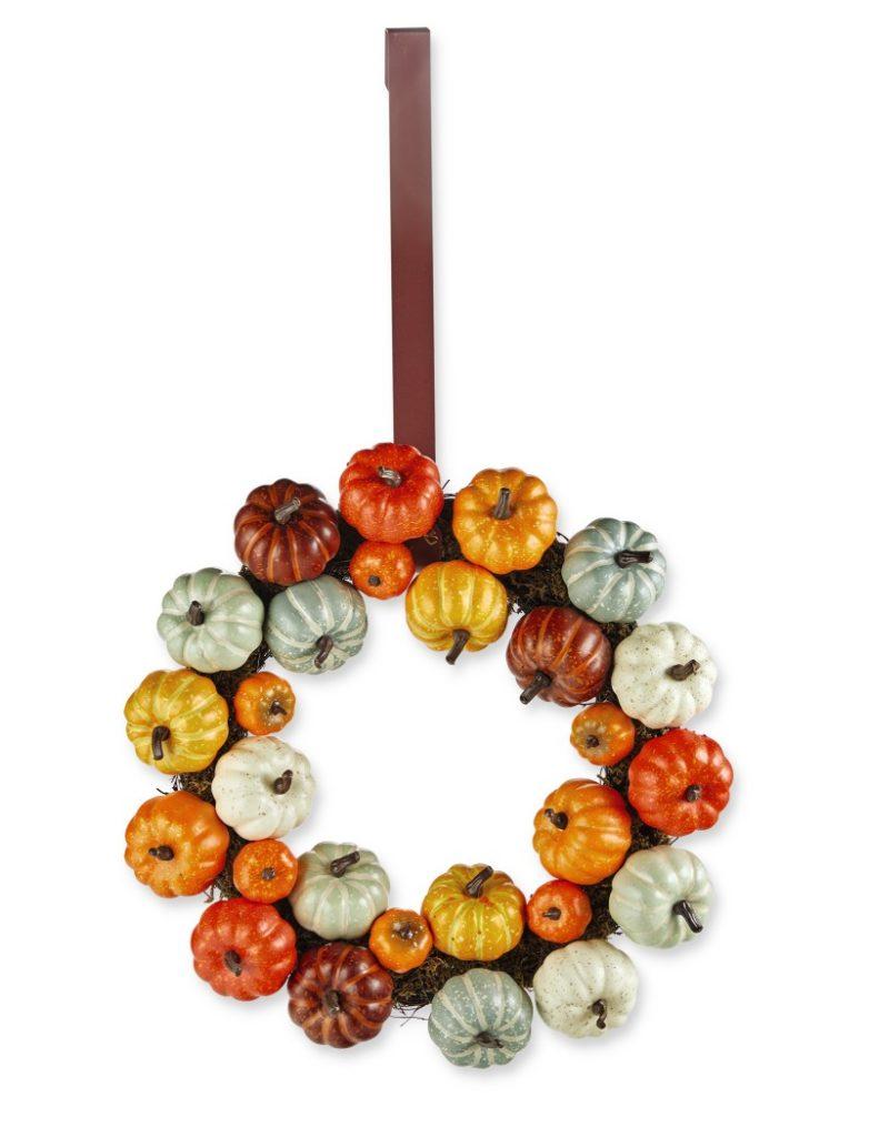 front door wreath with multicolor pumpkins