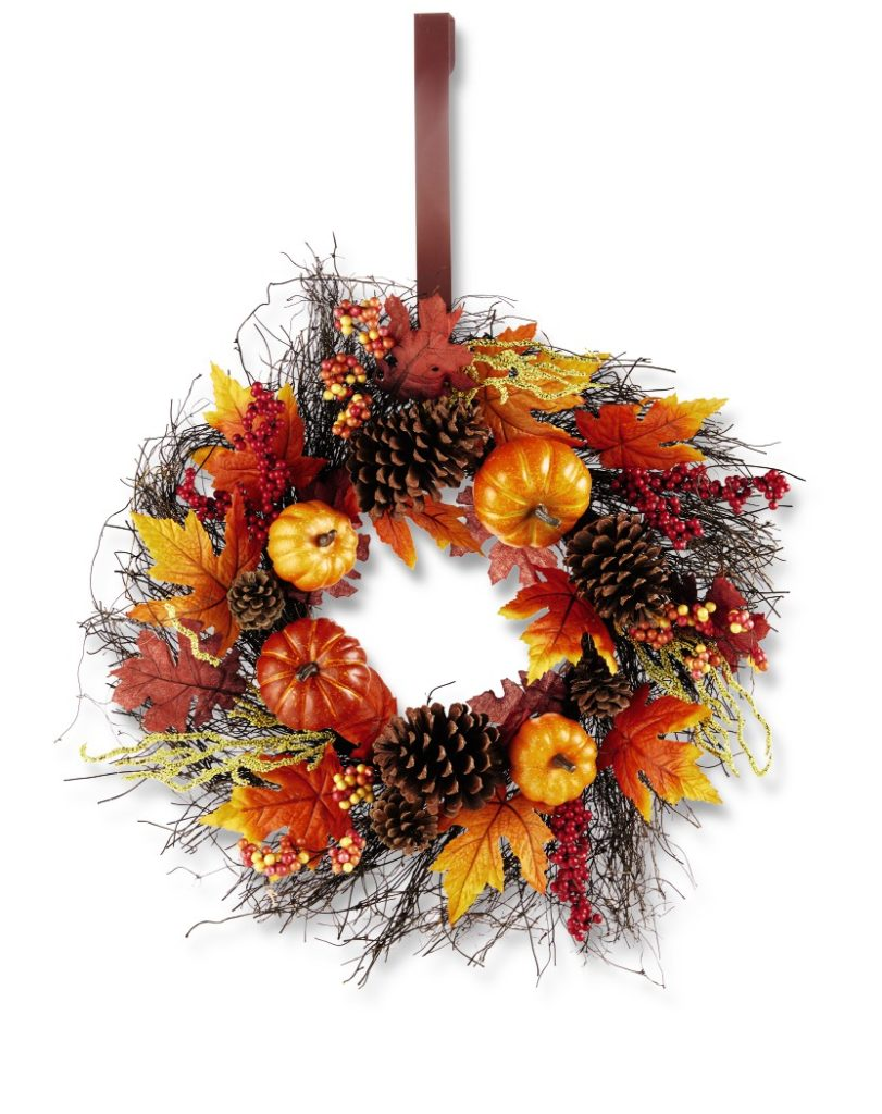 front door wreath with fall leaves, pumpkins and pinecones