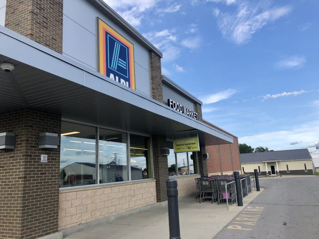 Aldi store with shopping carts outside