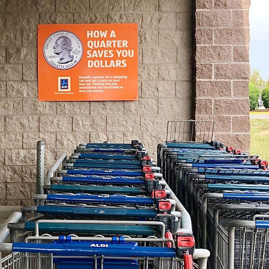 Aldi shopping carts take a quarter