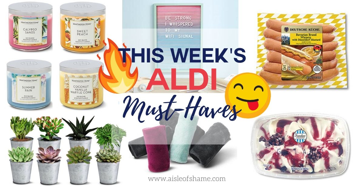 this week's aldi must-haves candles succulents letterboard