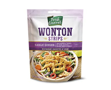 garlic ginger wonton strips