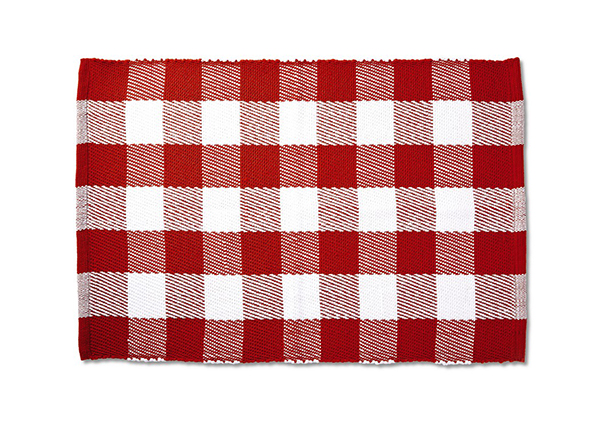 Handwoven Layering Rug red check