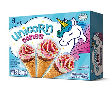 Aldi unicorn ice cream cones