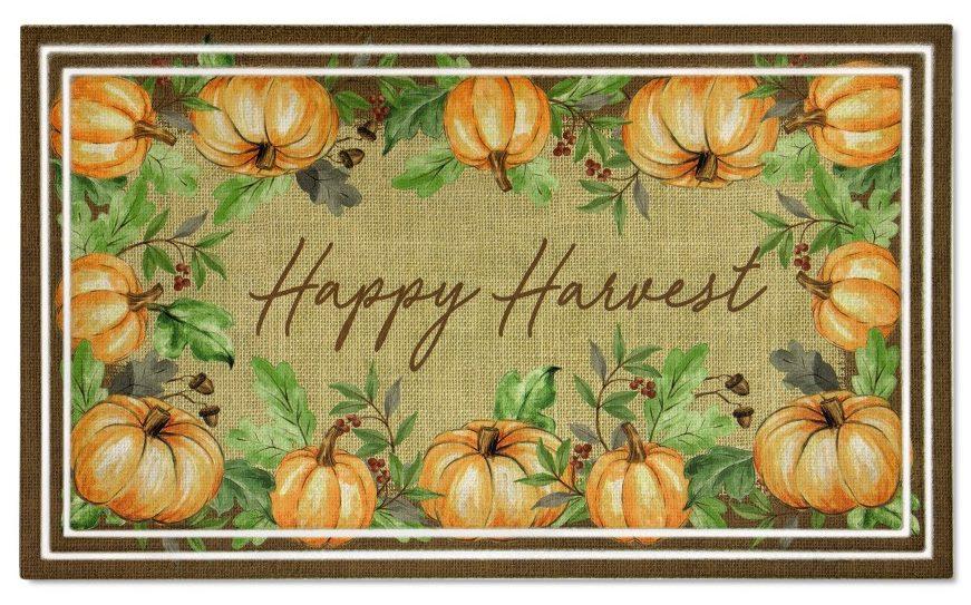 Happy harvest fall door mat