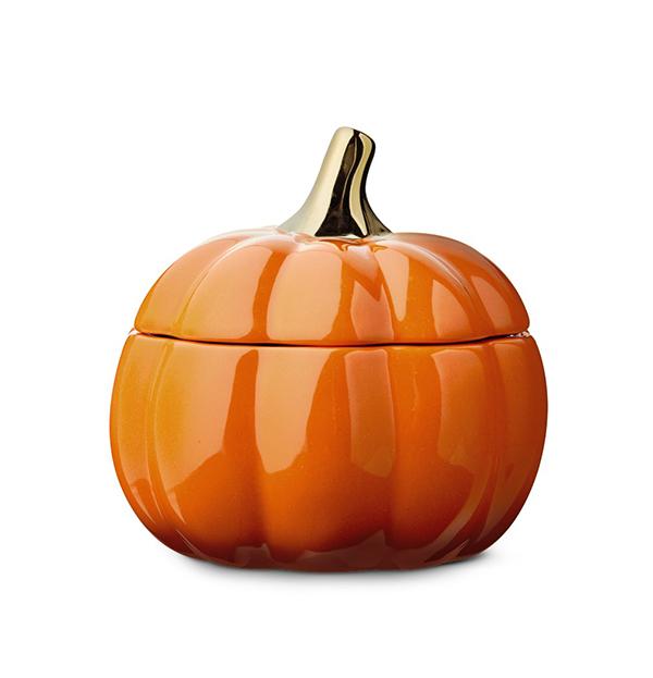 orange Huntington Home Ceramic Pumpkin Candle