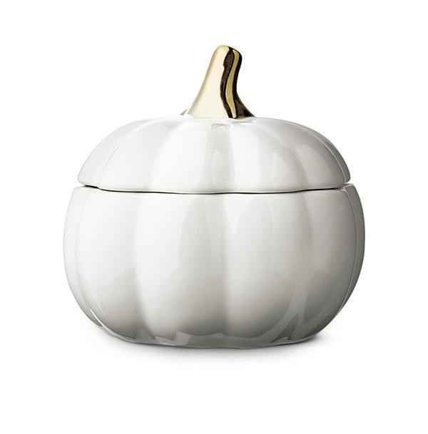 white Huntington Home Ceramic Pumpkin Candle