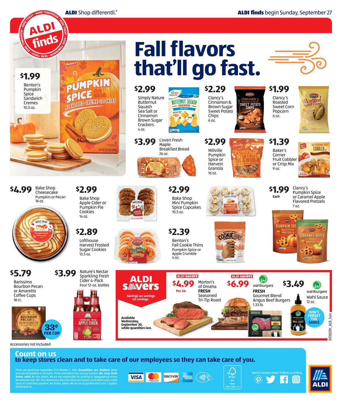 Aldi ad preview for September 30 2020 fall flavors