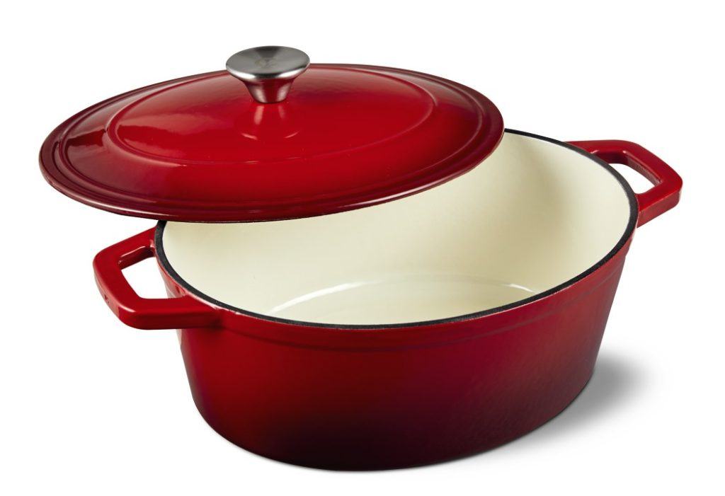 Crofton Cast Iron 4.6 Qt. French Oven - Red Open