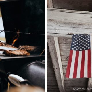 photos of grill and american flag for post on Aldi labor day hours