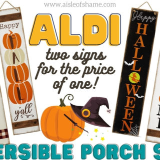 aldi reversible porch signs for fall and halloween