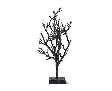 black glitter trees at aldi
