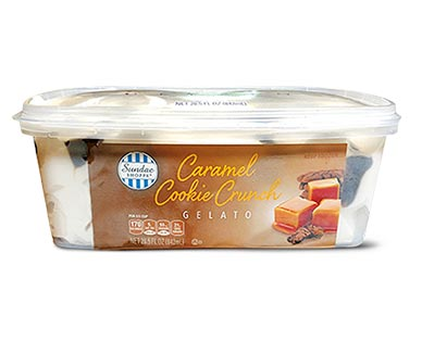 caramel cookie crunch gelato at aldi