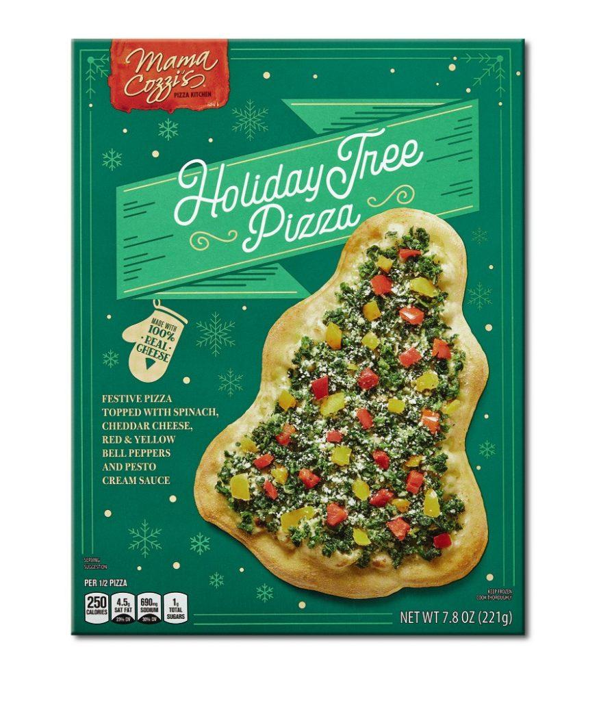 aldi holiday christmas tree shaped pizza