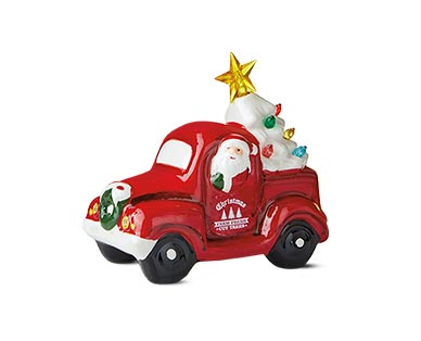 red truck with white tree
