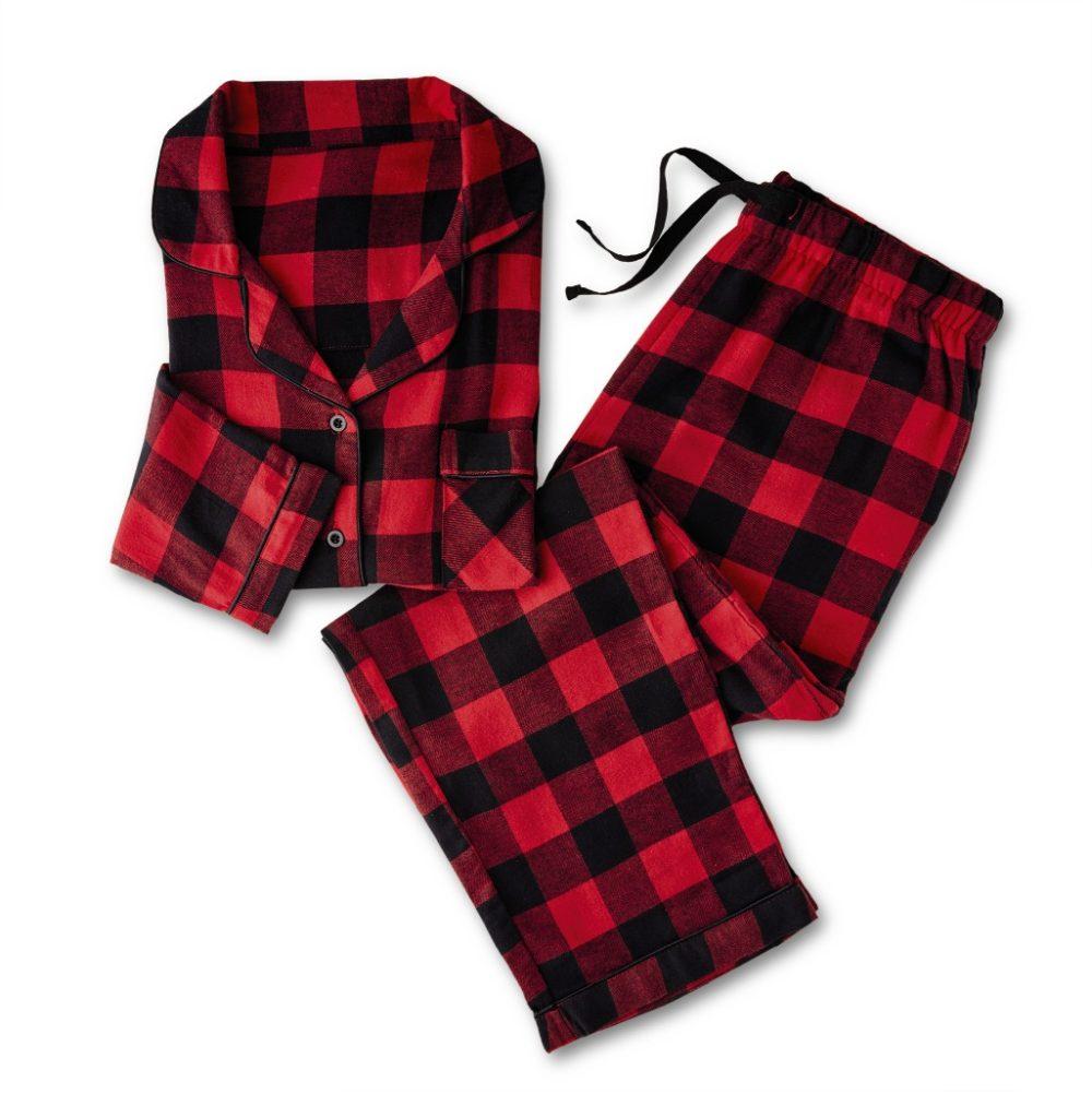 aldi red and black plaid women's flannel pajama set