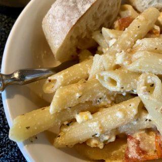 Feta Pasta with Aldi ingredients