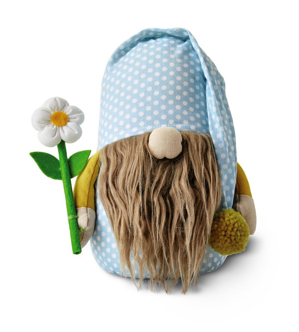 short aldi spring gnome with blue clothing and a single daisy