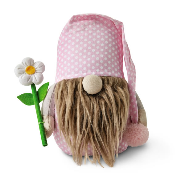aldi spring gnome with pink polka dot clothing and white flower