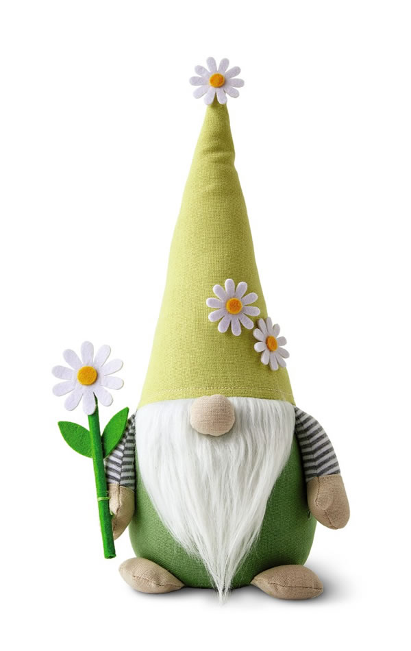 aldi spring gnome with green clothing and tall hat with daisies