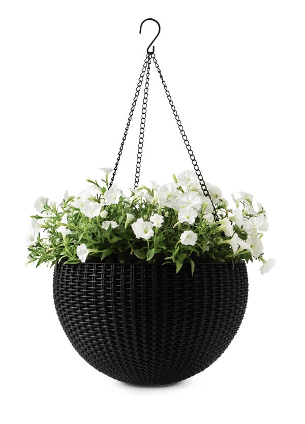 rattan sphere hanging planter
