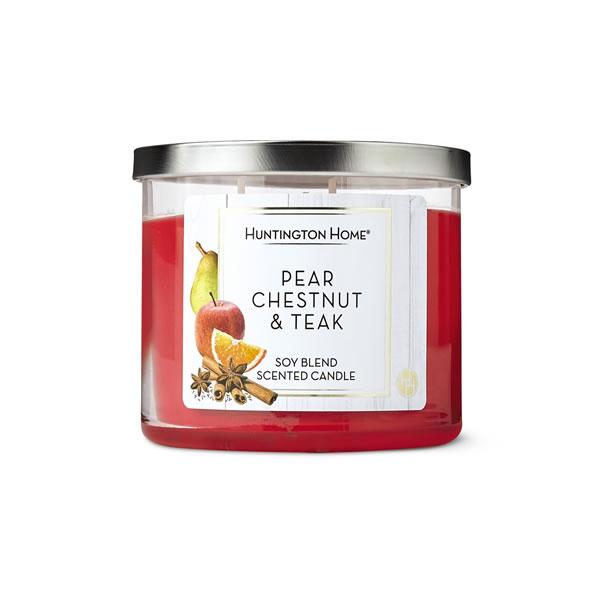 aldi pear chestnut & teak candle