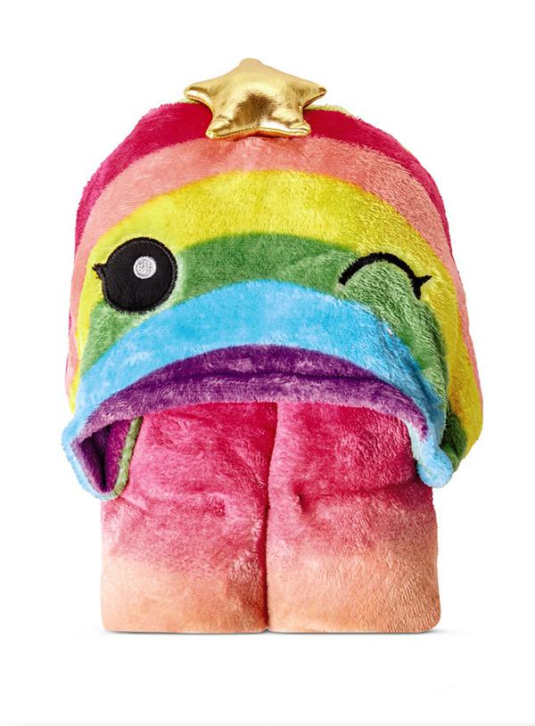 rainbow Hooded Plush Throw
