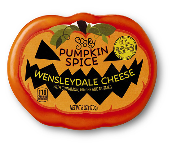 scary pumpkin spice halloween cheese from aldi